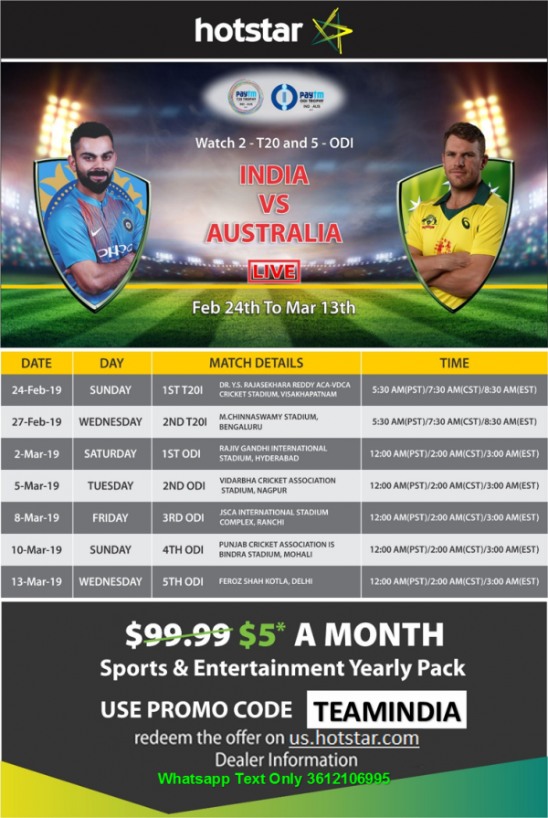 7528dffd686 India Vs Australia Paytm series is streaming live on Hotstar. Subscribe  Hotstar now for  60 and enjoy live cricket match on hotstar premium.
